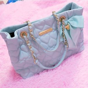 RELISTED Large Betsey Johnson Quilted Hearts Tote